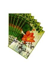 Leaf Designs Sketched Floral Orange & Green Table Mat - Set Of 6 - By