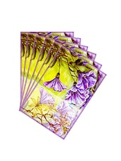 Leaf Designs Sketched Floral Leaf Green Table Mat - Set Of 6 - By
