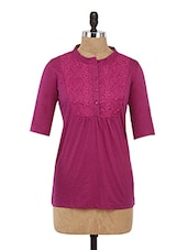 Pink Embroidered Cotton Tunic With Buttons Closure - By