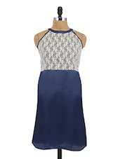 Blue Cut Worked Lace Yoke Shift Dress - By