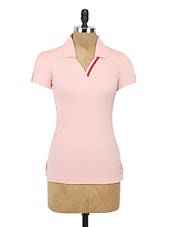 Pink Plain Cotton Pique Top - By