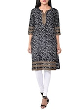 Black Cotton Straight Kurta - By