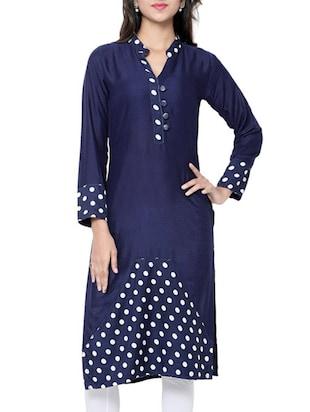 blue rayon aline kurta -  online shopping for kurtas