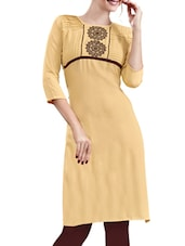 beige rayon aline kurta -  online shopping for kurtas