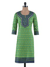 Multicolored Printed Cotton Laced Kurta - By