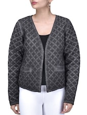 Charcoal Grey Quilted Cotton Jacket - By