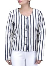 White And Navy Blue Striped Cotton Jacket - By