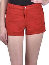 Solid Red Cotton Twill Shorts - By
