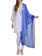Blue Chiffon Chanderi Dupatta - By