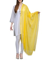 Yellow Chiffon Chanderi Dupatta - By