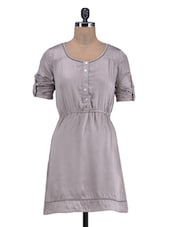 Grey Poly Satin Dress With Roll-uP Sleeves - By