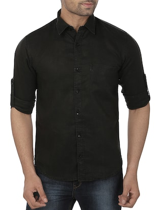 black linen casual shirt -  online shopping for casual shirts