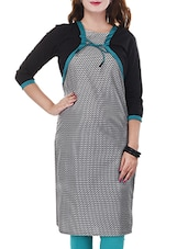 Grey & Black Cotton Straight Kurta - By