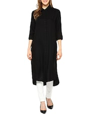Black Rayon Highlow Kurta - By