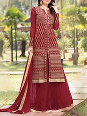 maroon georgette salwar suits dress material -  online shopping for Dress Material