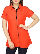orange rayon regular shirt -  online shopping for Shirts