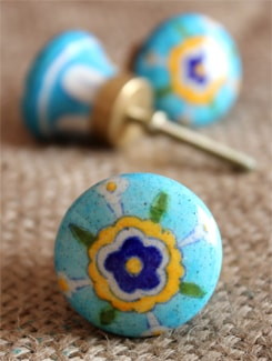 Sky Blue Ceramic Knobs (Set Of 6) - NEERJA