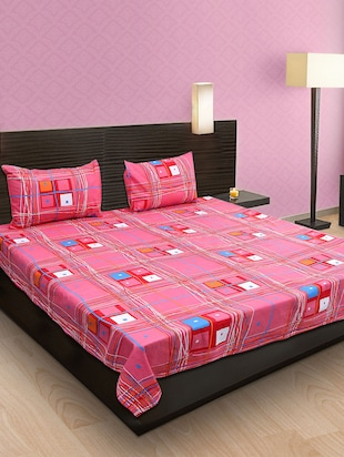 Krishnam Pink & Blue Geometric Double Bedsheet with 2 Pillow Covers -  online shopping for bed sheet sets