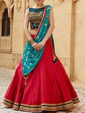 red poly silk flared lehenga -  online shopping for lehengas