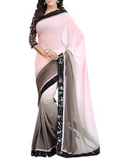 Pink And Grey Shaded Georgette Saree - By