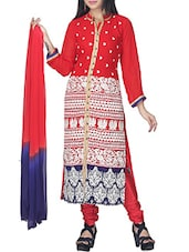 red georgette straight stitched suit -  online shopping for Stitched Suits