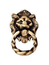 Brass Lion Face Door Knocker In Antique Finish - By