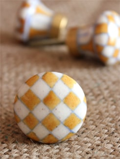 Mustard Checker Board Ceramic Knobs (Set Of 6) - NEERJA