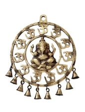 Brown Brass Ganesh Plate With Om And Bells - By