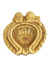 Decorative Handmade Lord Laxmi Ganesha Face Diya Of Yellow Brass - By