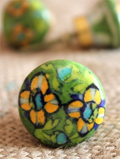 Green Floral Ceramic Knobs (Set Of 6) - NEERJA