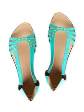 Turquoise Blue Faux Leather Strappy Flats - By