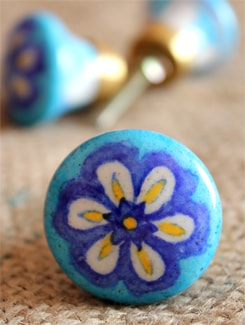 Blue Flower Ceramic Knobs (Set Of 6) - NEERJA