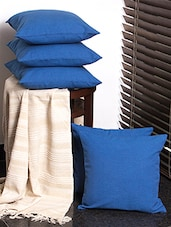 First Row Collections Blue Cotton Cushion Cover Set Of 5 Pecs- 16x16 Inch - By