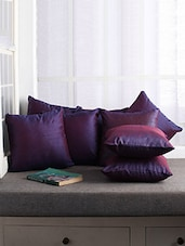 First Row Collections Purple Satin Cushion Cover Set Of 5 Pecs- 16x16 Inch - By