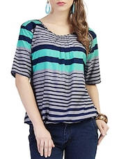 multicolored striped crepe regular top -  online shopping for Tops