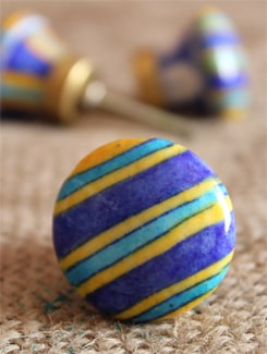 Blue And Yellow Striped Knobs (Set Of 6) - NEERJA