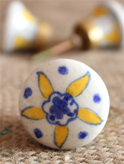 Yellow And Blue Floral Ceramic Knobs (Set Of 6) - NEERJA