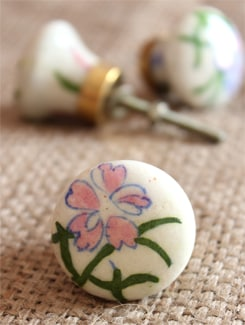 White And Pink Floral Ceramic Knobs (Set Of 6) - NEERJA