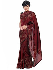 Maroon embroidered silk saree -  online shopping for Sarees