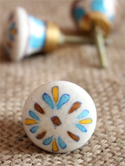 Blue & Brown Floral Ceramic Knobs (Set Of 6) - NEERJA