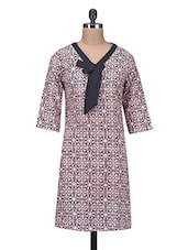 Black And Pink Printed Cotton Kurti - By