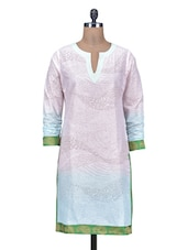 Baby Pink Printed Poly Cotton Kurti - By