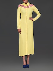 Yellow Embellished Pure Georgette Shirt Dress - By
