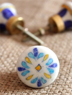 Floral Yellow And Blue Ceramic Knobs (Set Of 6) - NEERJA