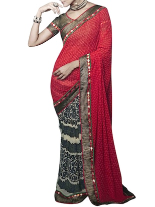 multi georgette half and saree -  online shopping for Sarees