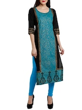 Turquoise Blue Cotton Regular Kurta - By