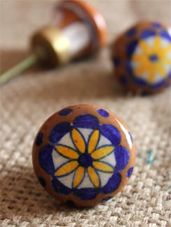 Printed Ceramic Knobs (Set Of 6) - NEERJA