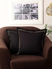 First Row Collections Black Cotton Cushion Cover Set Of 2 Pecs- 16x16 Inch - By