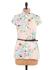 Off-white Cotton Floral Print Tunic - By