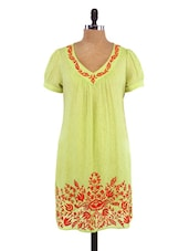 Green Cotton Embroidered Tunic - By